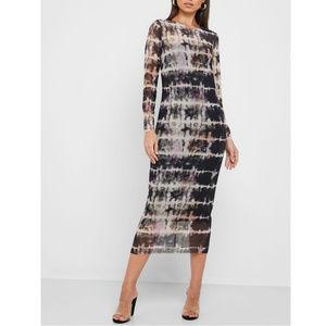 nwt Topshop Sheer Tie Dye Midi Dress 8-10